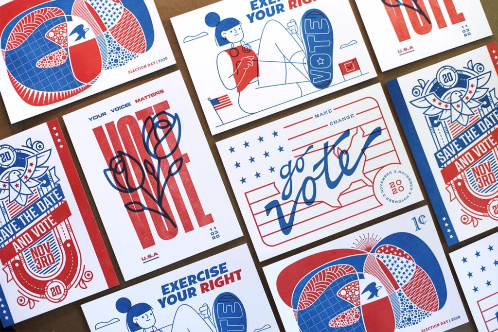 Vote 2020 letterpress postcards